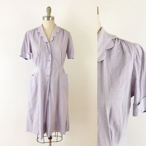 1940s Purple Polka Dot Day Dress Cotton Scalloped